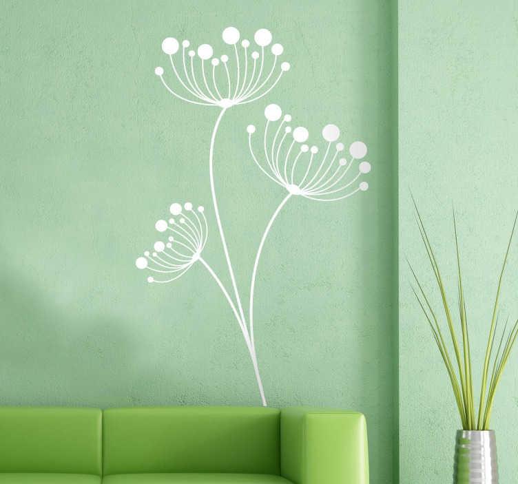 TenStickers. Sticker fleur pissenlit. Sticker mural pour décorer les murs de votre intérieur avec ces fleurs de pissenlit très élégantes..