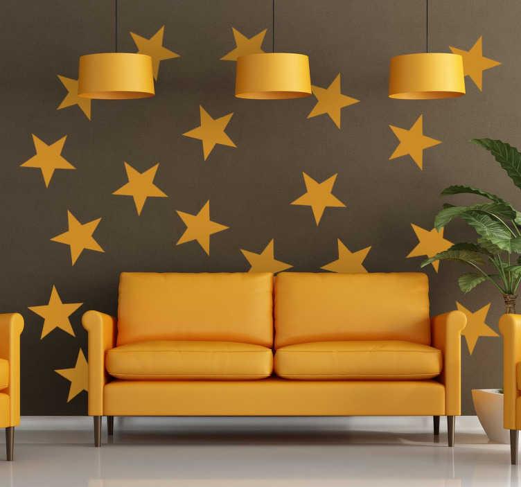 TenStickers. Muursticker decoratieve gele sterren. Deze muursticker heeft een decoratief ontwerp van gele sterren, waarmee u een prachtig sterrenhemel op een muur of plafond in uw huis lucht.