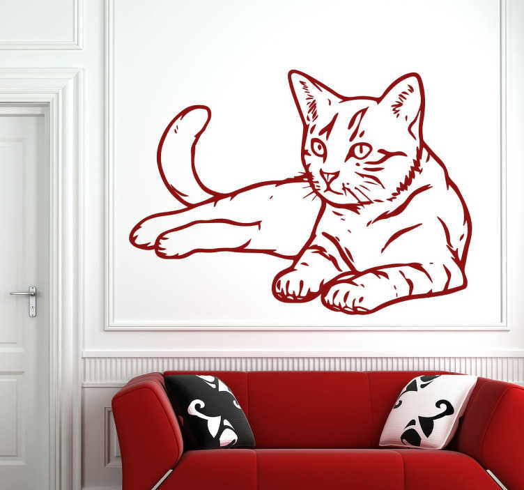 TenStickers. Decorative Cat Wall Decal. This beautiful cat decal stands out and is eye-catching wherever it is placed in your home. Perfect for cat lovers, our cat wall sticker comes in different sizes and is available in up to 50 colours.