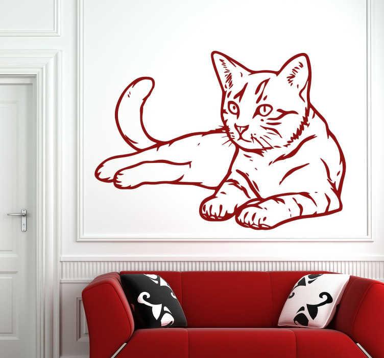 TenStickers. Vinil autocolante de um gato. Você também gosta de gatos? Então temos o perfeito autocolante de parede para si com este adesivo de um bonito gato.