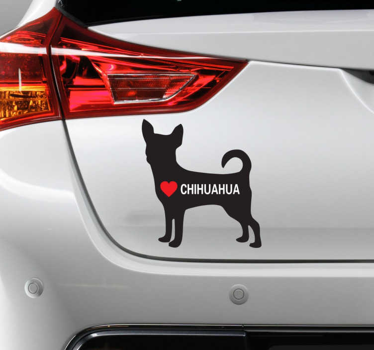 """TenStickers. Sticker I Love Chihuahua. Vous adorez les chiens depuis toujours ? Surtout les plus petits comme les chihuahuas ? Alors ce sticker """"I Love Chihuahua"""" est fait pour vous."""
