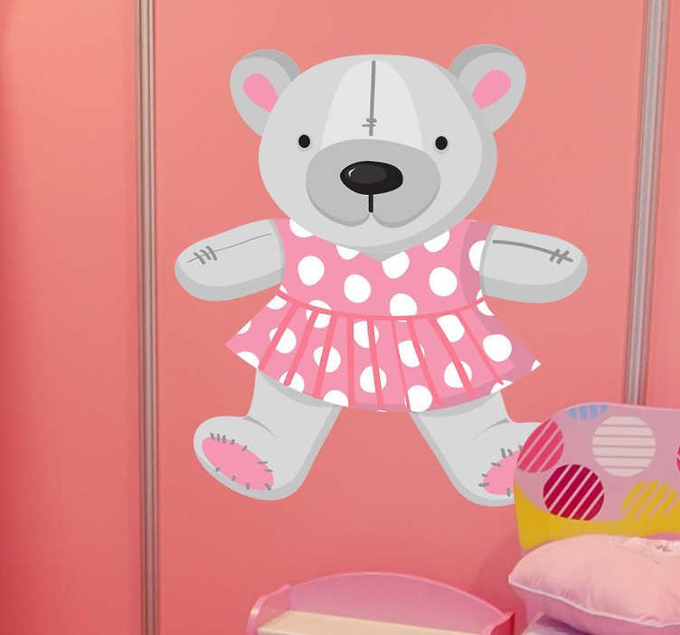 TenStickers. Naklejka dla dzieci szary miś. Naklejka do pokoju dziecięcego przedstawiającego szarego misia w różowej sukience. Piękny, subtelny wzór wykonany z użyciem pastelowych barw.