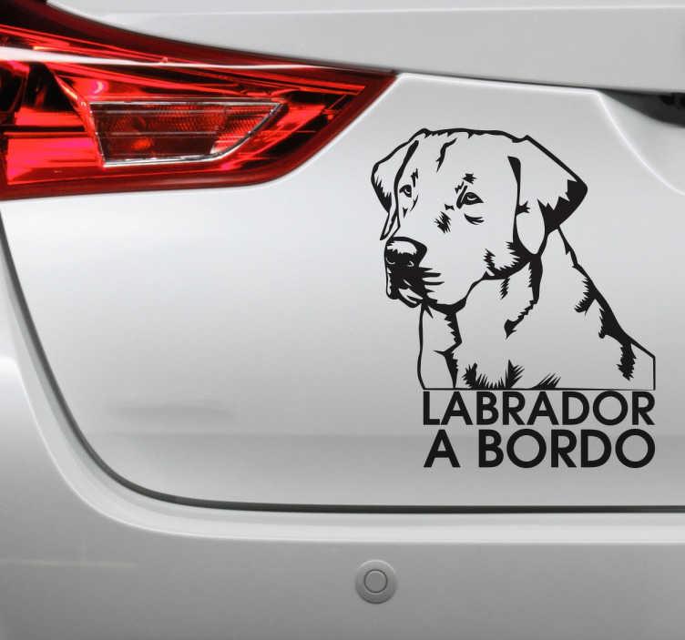 TenVinilo. Vinilo decorativo Labrador Retriever a Bordo. Pegatina decorativa para tu coche, ideal si tu perro es un Labrador y te encanta que todo el mundo lo sepa.