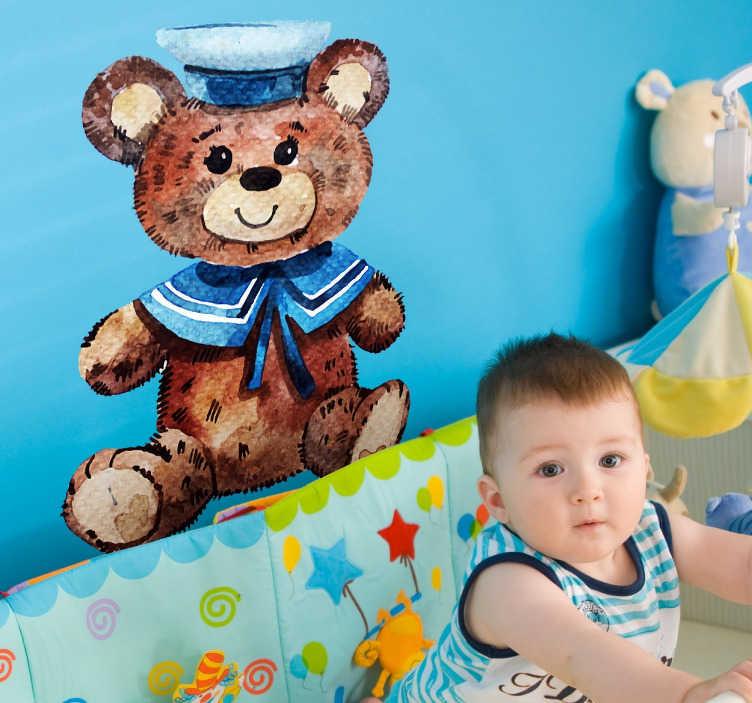 TenVinilo. Vinilo osito de peluche acuarela. Vinilos habitación bebé con un oso de peluche vestido de marinero que parecerá estar pintado en la pared.
