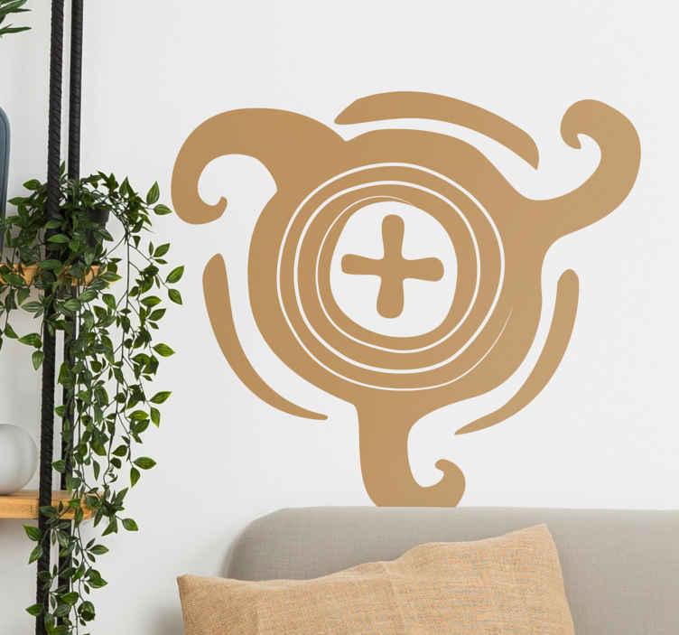 TenStickers. Sticker illustration ethnique. Stickers mural inspiré de l'art africain. Dessin d'une croix entourée d'une forme abstraite.Idée déco pour la chambre à coucher ou le salon. Ajoutez votre touche personnelle en sélectionnant une couleur.
