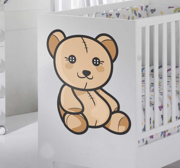 TenStickers. Süßer Teddybär Aufkleber mit Knopfaugen. Teddybär Aufkleber mit Knopfaugen und Nähten. Perfektes Wandtattooo für das Kinderzimmer