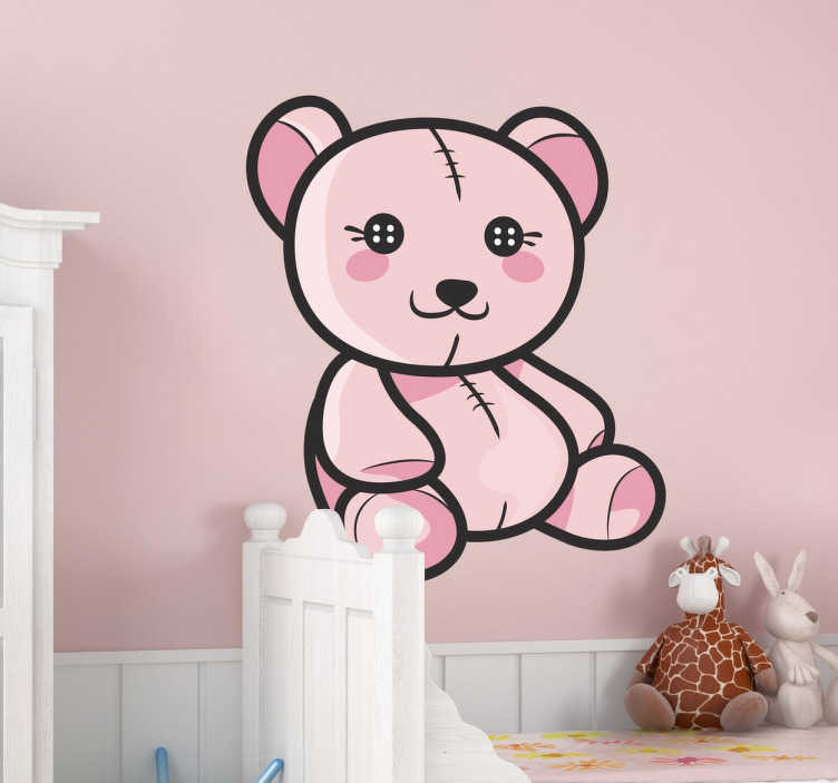 TenStickers. Kids Pink Teddy Bear Decal. Kids Wall Stickers - Playful and fun illustration of an adorable light pink teddy bear. Original design ideal for decorating the nursery