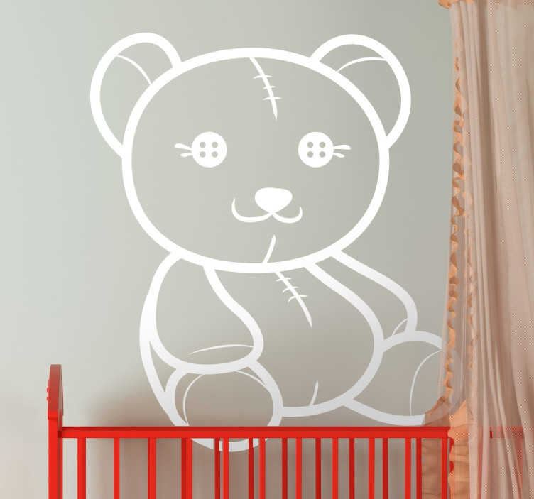 TenStickers. Wandtattoo Teddybär mit Knopfaugen. Teddy Aufkleber mit Knopfaugen. Die Farbe ist frei wählbar. Perfekt für das Kinderzimmer!