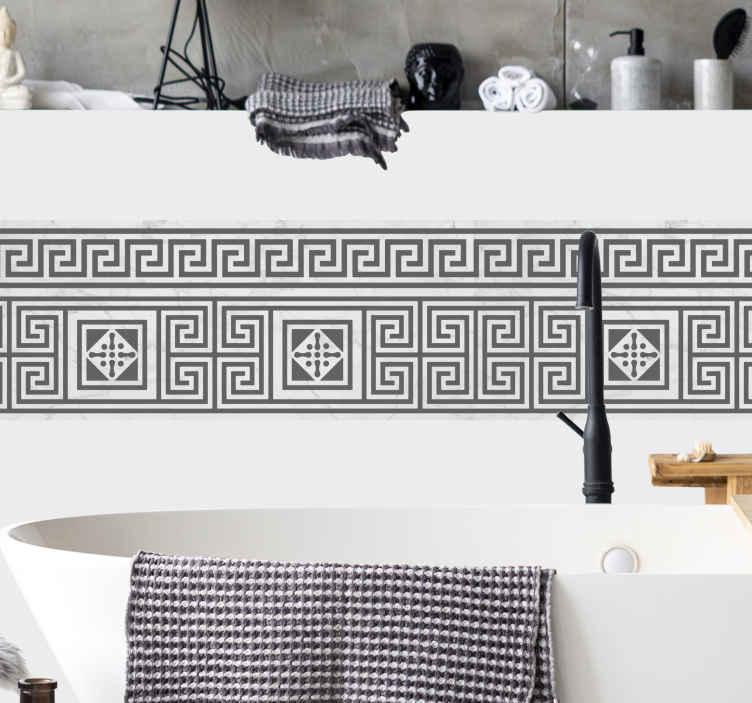 TenStickers. Naklejka greckie dekoracje. Naklejka dekoracja z klasycznym, greckim motywem na ścianę. Wzór złozony z dwóch lini geometrycznych wzorów, które tworzą labirynty.