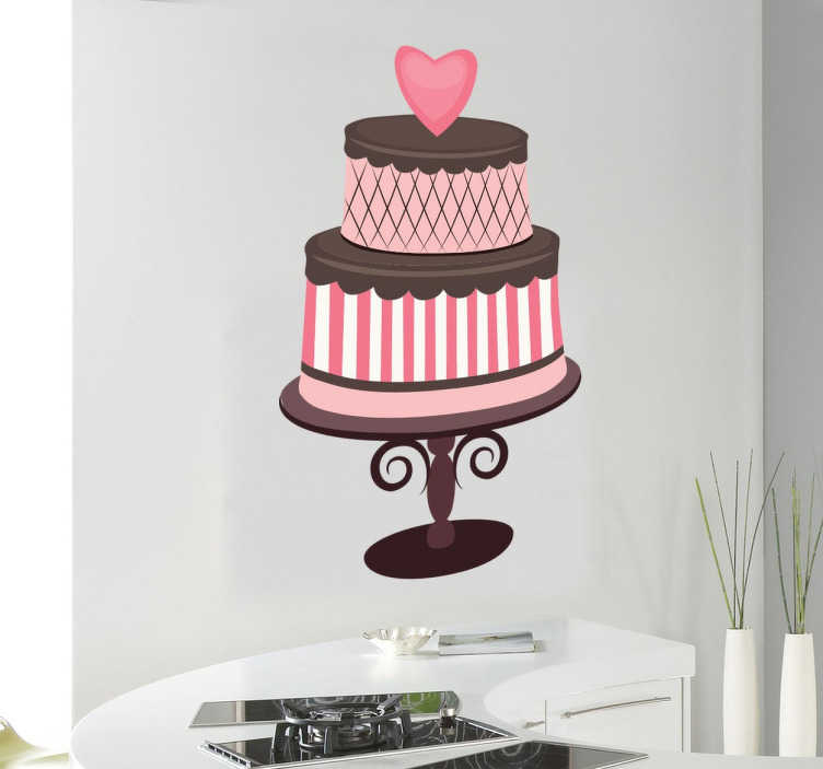 TenStickers. 심장 초콜릿 케이크 데칼 사랑. 초콜릿 케이크 벽 스티커 - 케이크 벽 위에 장식 심장 장식과 함께 초콜릿과 딸기 케이크 급수 두 계층 입의 데칼.