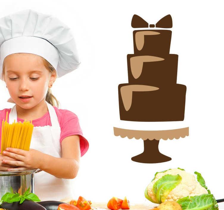 TenStickers. Sticker gâteau au chocolat étages. Trois délicieux étages de gâteau au chocolat orné d'un élégant noeud au chocolat pour finir le tout.