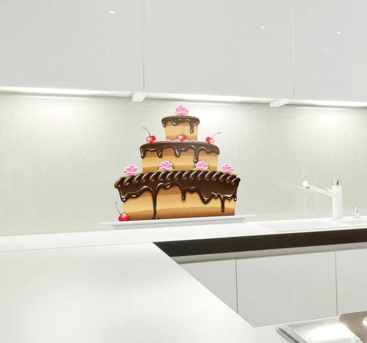 TenStickers. Sticker taart chocolade kersen. Wie wilt er nou geen mega grote/versierde taart op de muur? kast? raam? of toch liever op de koelkast? Het kan allemaal!