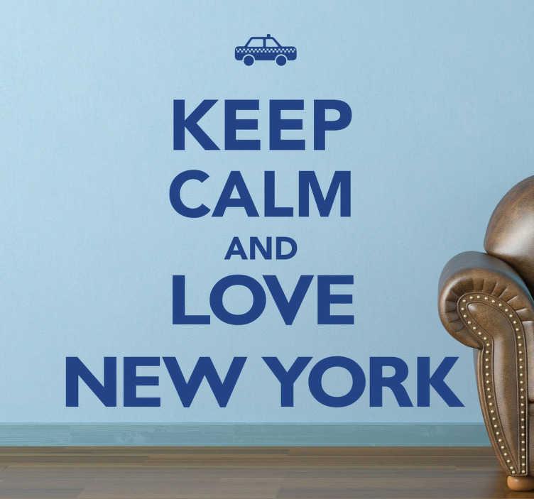 TenStickers. Naklejka kochaj Nowy Jork. Naklejka na ścianę z napisem 'Keep calm and love New Jork'. Wzór dostepny w róznych kolorach, a rozmiar również dopasujesz do wolnej przestrzeni. Naklej dekorację na ścianie, meblach lub szybie. Zupełna dowolność! Naklejki winylowe nie zapowietrzają się i idealnie przylegają do powierzchni.