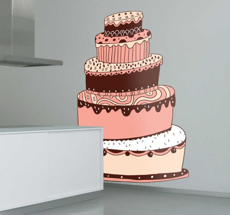 TenStickers. Five Tier Illustration Cake Decal. Cake - Original hand drawn illustration of a five tier cake. An ideal feature great for your kitchen or business. Available in various sizes.