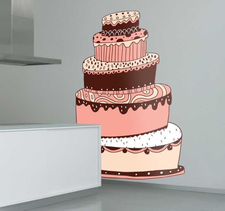 TenStickers. Naklejka pięciopiętrowy tort. Naklejka dekoracyjna do kuchni, kawiarnii lub cukiernii przedstawiająca olbrzymi tort o różnych smakach i ozdobach. Piękna, kolorowa naklejka ścienna ożywi każde wnętrze.