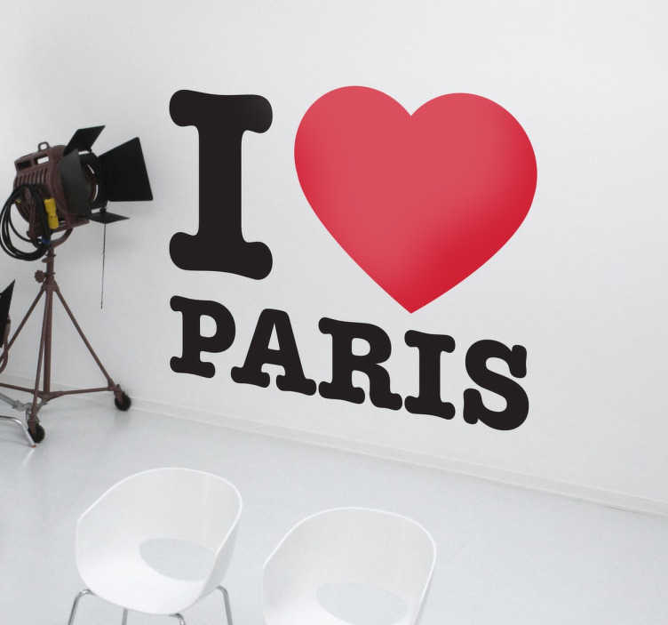 TenVinilo. Adhesivo I love Paris. De nuestra colección de murales y vinilos París uno muy especial con el declarar tu amor por la capital Francesa.