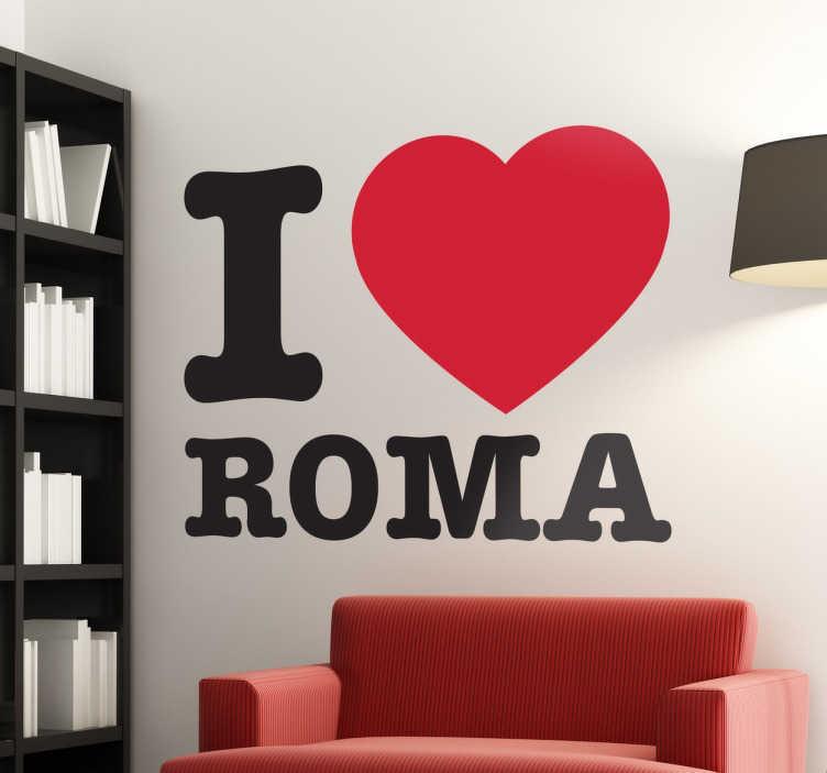 TenStickers. I love Roma klistermærke. I love Roma klistermærke. Dekorativt klistermærke til elskere af byen Rom, eller fans fans af fodboldklubben AS Roma.