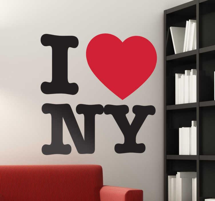 TenStickers. Naklejka I. Naklejka dekoracyjna na ścianę przedstawiająca napis 'I love NY'. Wzór dedykowany dla wszystkich, którzy pokochali tę amerykańską metropolię.