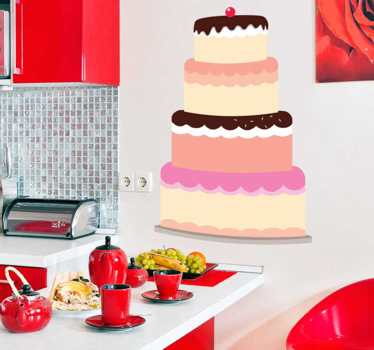 TenStickers. Fondant Cake Decal. Wall Stickers - Decals - Illustration of a four tier mouth-watering frosted cake topped with a cherry on top.