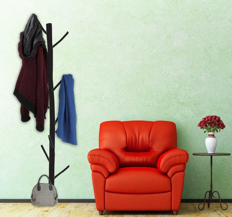 TenStickers. Naklejka drewniany wieszak. Naklejka dekoracyjna na ścianę przedstawiająca wieszak na ubrania w formie gałęzi drzewa.