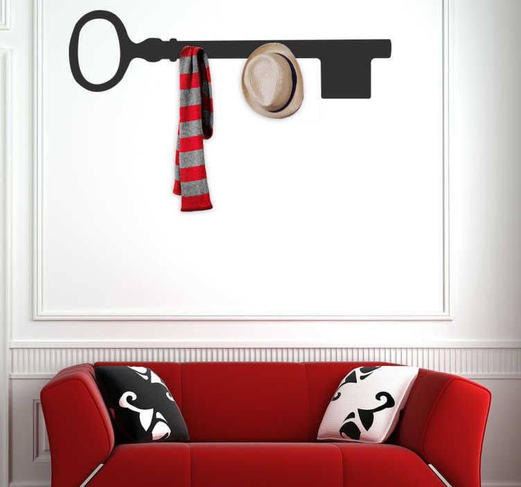 TenStickers. Nøgle knagerække sticker. En elegant og unikt design til at indrette dit hjem, og skabe en mere behagelig atmosfære. En wallsticker med motiv af en nøgle.