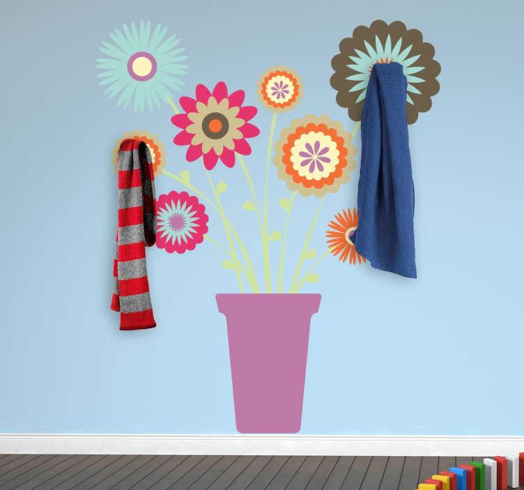 TenStickers. Kapstok bloempot sticker. Muursticker van een bloempot met verschillende gekleurde bloemen! Met de twee bijgeleverde hangers kun je deze sticker omtoveren naar een kapstok.