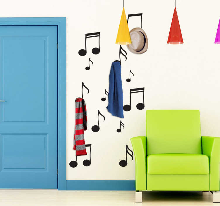 TenStickers. Musical Notes Coat Hanger Wall Sticker. Music wall stickers - A coat hanger wall sticker for music lovers! Fantastic design where your coats can hang from musical notes.