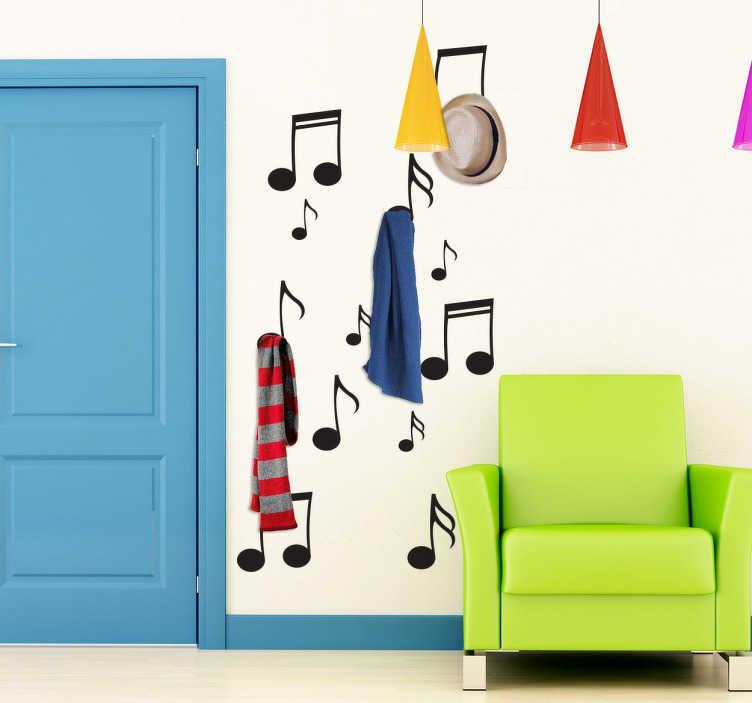 TenStickers. 음표 옷걸이 벽 스티커. 음악 벽 스티커 - 음악 애호가들을위한 옷걸이 벽 스티커! 당신의 외투가 음악 노트에서 걸 수있는 환상적인 디자인.