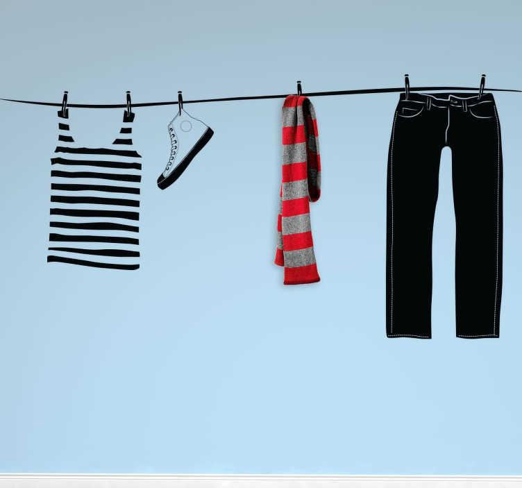 TenStickers. Appendiabiti adesivo stenditoio. Stenditoio adesivo ideato per l'esclusiva personalizzazione della tua camera da letto o dello spazio in cui ti occupi del lavaggio della biancheria.