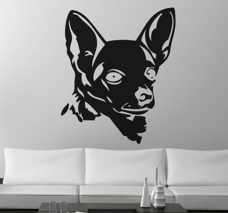 TenStickers. Wandtatto Chihuahua. Gestalten Sie Ihr Zuhause mit diesem niedlichen Chihuahua Kopf als Wandtattoo! Damit zeigen Sie Ihre Liebe zu der niedlichen Hunderasse