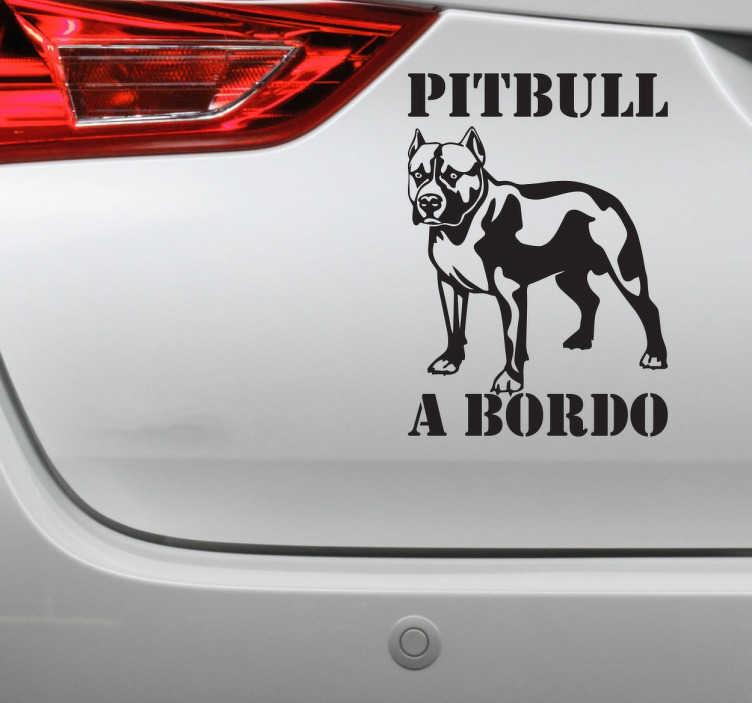 TenVinilo. Vinilo decorativo pitbull a bordo. Adhesivo decorativo Pitbull a Bordo, pegatina ideal para colocar en tu coche si eres entusiasta de esta raza de perros.