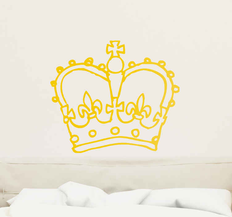 Naklejka korona rysowana od ręki