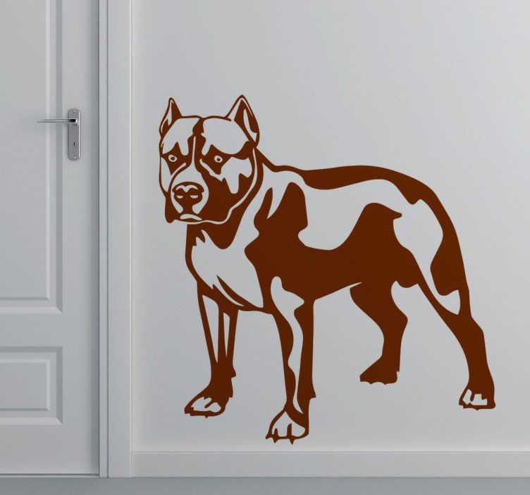 TenVinilo. Vinilo decorativo Pitbull negro. Vinilo decorativo de uno de los perros más agresivos que hay. El Pitbull dotará de carácter y personalidad tu hogar o complementos a la vez que dará un aire agresivo y temible a tu estancia.