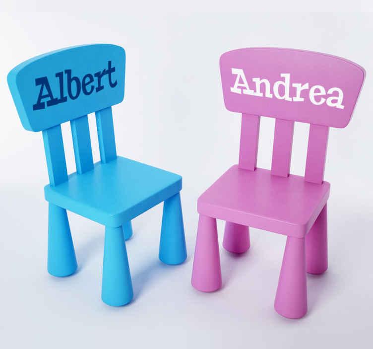 TenVinilo. Vinilo decorativo silla MAMMUT. Ikea vinilos decorativos infantiles para decorar los accesorios de la habitación de tus hijos. Adhesivo nombre para la silla infantil MAMMUT.