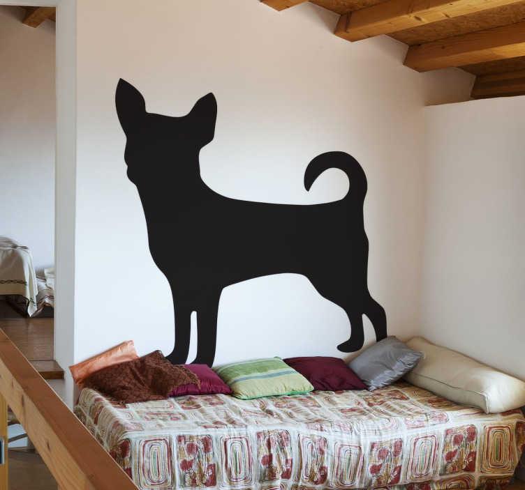 TenStickers. Sticker silhouette chihuahua. Sticker décoratif représentant la silhouette d'un chihuahua, petit chien d'origine mexicaine, pour personnaliser les murs de votre intérieur.