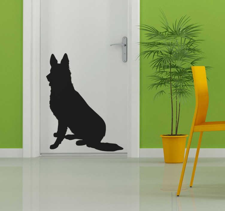 TenStickers. Duiste herder silhoutte sticker. Deze sticker van een Duitse herder zal uw huis personaliseren op een simpele manier! Deze muursticker kunt u ook plakken op deuren, kasten, ramen etc.