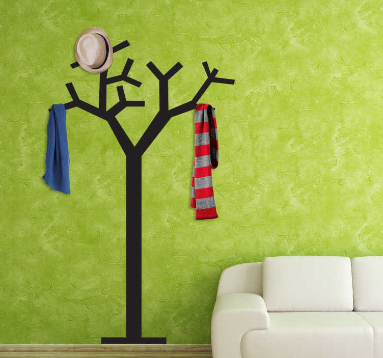 TenStickers. Wandtattoo Gaderobenhalter Baum. Gestalten Sie Ihren Flur mit diesem Wandtattoo eines Gaderobenhalters in Form eines Baumes.