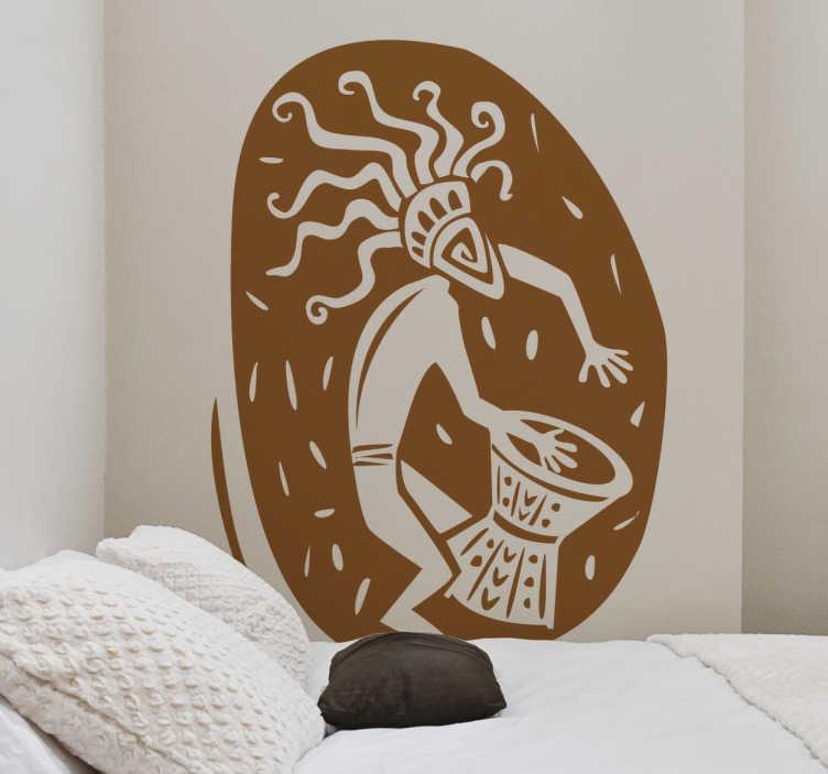 TenStickers. Naklejka emblemat muzyki afrykańskiej. Naklejka dekoracyjna przedstawiająca rysunek afrykańskiego muzyka grającego na charakterstycznym afrykańskim bębnie.