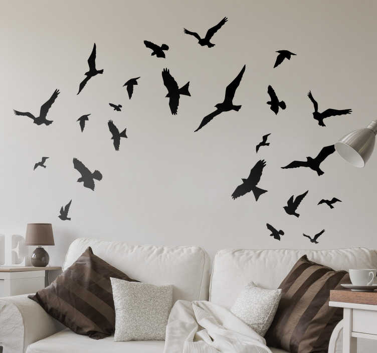 TenStickers. Decorative Flying Birds Sticker. Decorate the walls of your home with these flying bird sticker set available in a huge variety of colours so you can personalise your home the way you want. 16 bird stickers to adapt as you like to your home.