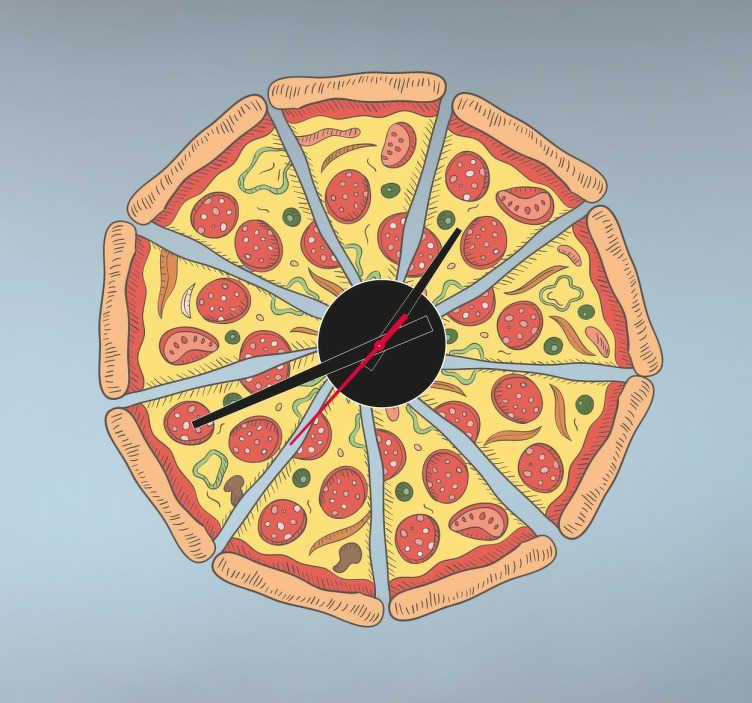 Sticker horloge pizza