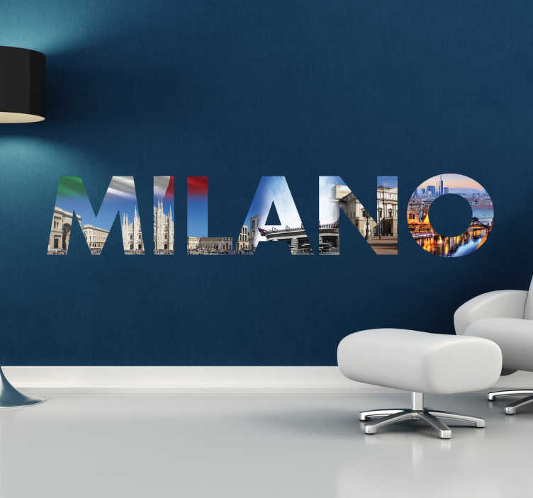 TenStickers. Stencil muro scritta Milano. Originale adesivo murale realizzato con un innovativo collage di fotografie scattate nella città di Milano.