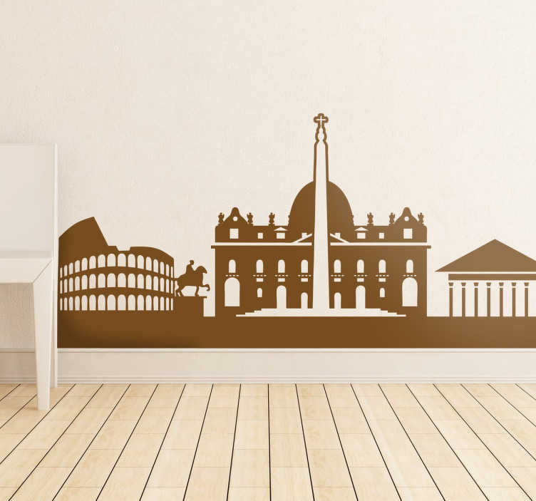 TenStickers. Autocolante decorativo monumentos de Roma. Autocolante decorativo ilustrando a silhueta de alguns dos principais monumentos de Roma, capaz de o fazer sentir na capital de Itália.