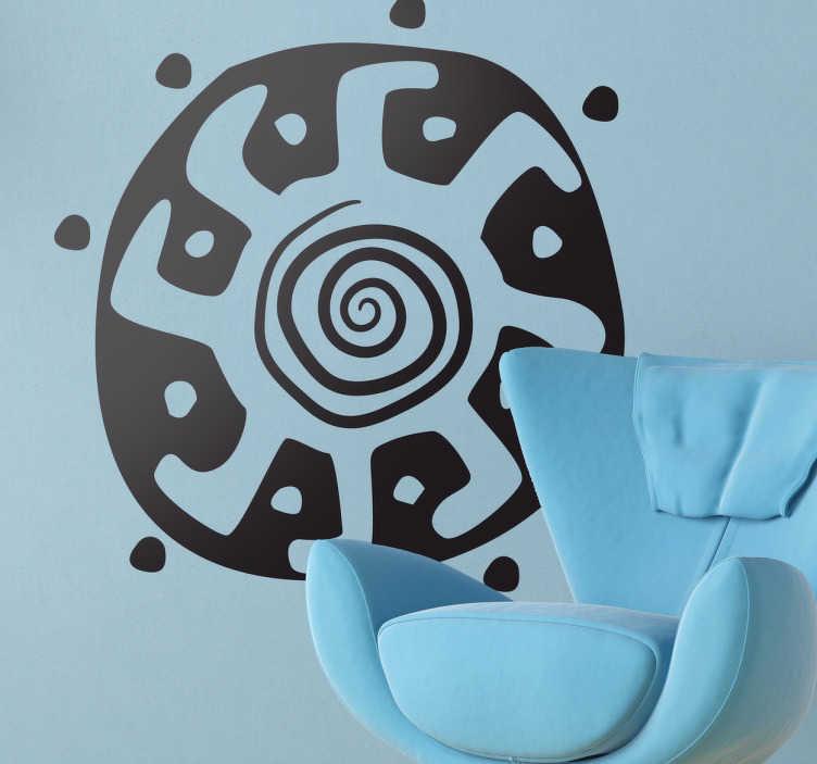 TenStickers. Autocollant mural forme soleil. Stickers mural de type ethnique. Dessin de forme arrondie représentant un soleil.Idée déco pour la chambre à coucher ou le salon. Ajoutez votre touche personnelle en sélectionnant une couleur.