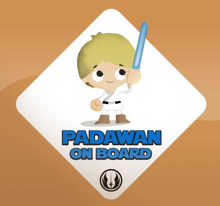"""TenStickers. Naklejka na samochód Padawan na pokładzie. Naklejka przedstawiająca Padawan'a, czyli ucznia Jedi z filmu """"Gwiezdne Wojny"""". Idealna naklejka na samochód, która pozwoli Ci oznaczyć pojazd."""
