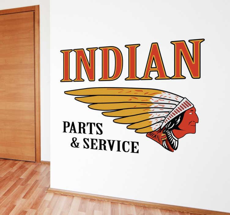 TenVinilo. Vinilo cartel Indian parts service. Recreación en vinilo decorativo de un cartel antiguo de una mítica marca de motos americana. Vinilos Personalizados a medida.