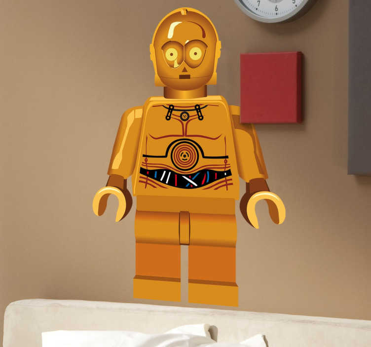 TenStickers. Sticker enfant C3PO lego. Sticker enfant C-3PO Lego, personnage emblématique de l'univers Star Wars.