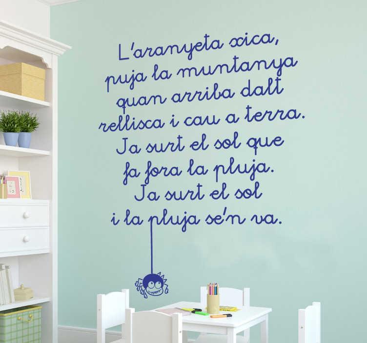 TenVinilo. Vinilo infantil canción aranyeta xica. Vinilo con una versión en catalán de esta reconocida melodía infantil que narra las aventuras de una araña.