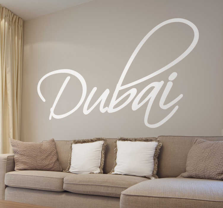 TenStickers. Naklejka Dubai. Naklejka na ścianę z napisem Dubai, w ostatnim czasie bardzo popularnego, bogatego miasta w Zjednoczonych Emiratach Arabskich.
