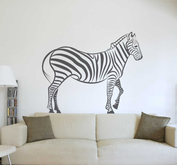 TenStickers. Naklejka zebra. Naklejka dekoracyjna przedstawiająca profil zebry. Prosty, klasyczny wzór, który nada wnetrzom zupełnie nowy wygląd. Piękne zwierzę w postaci naklejki na ścianę.