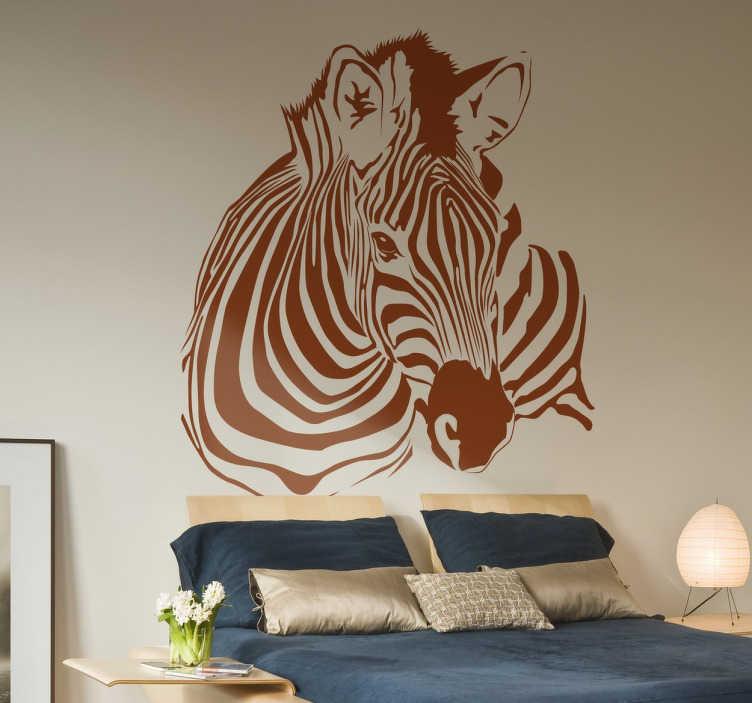 TenStickers. Naklejka dekoracyjna zebra. Spektakularna naklejka na ścianę z motywem zebry. Klasyczny zwierzęcy motyw możesz nabyć w różnych kolorach i rozmiarach. Umieść na ścianie w pokoju dziennym lub sypialni.